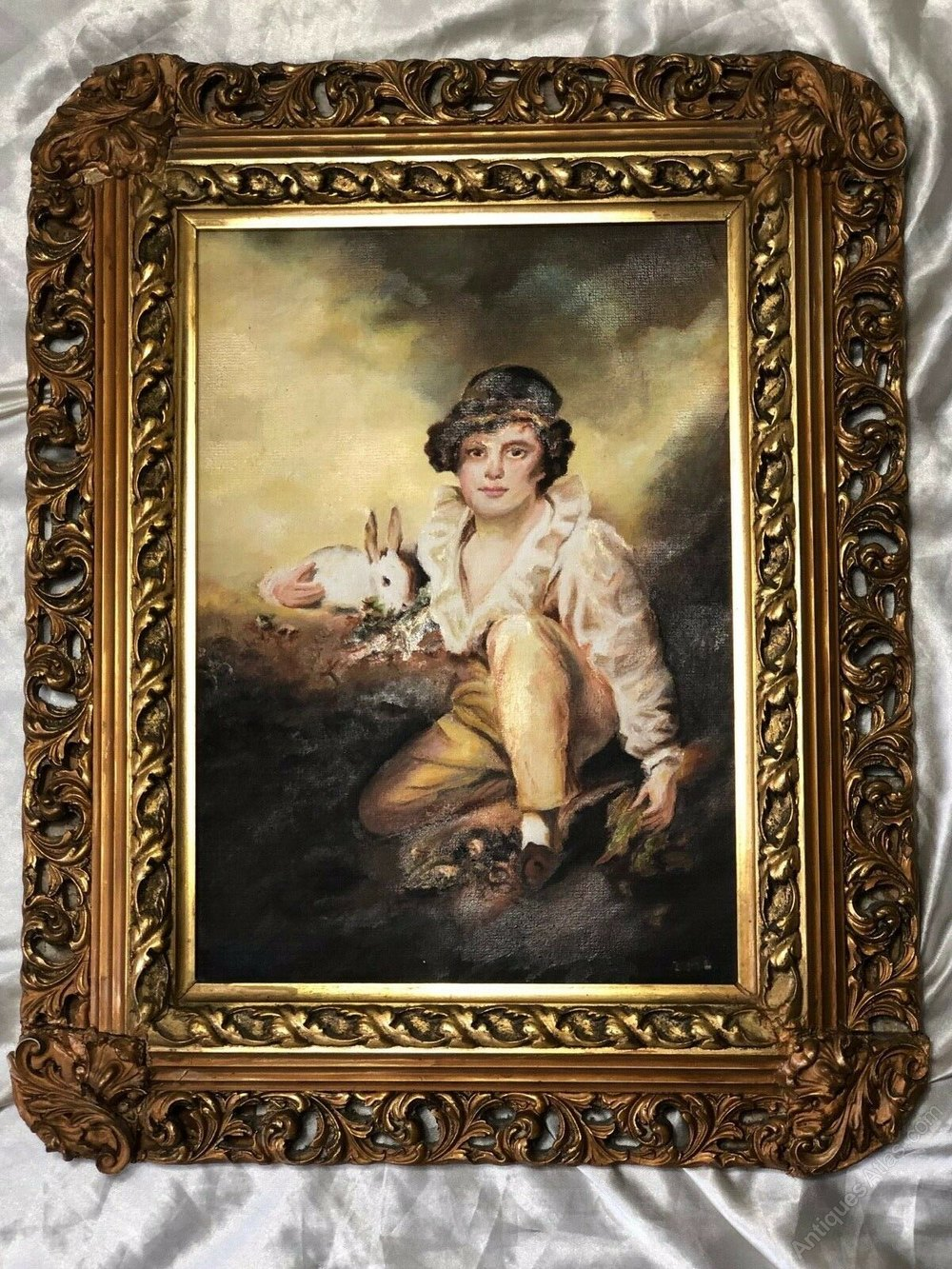 Antique Oil on Canvas Boy and Parrot Genre Painting