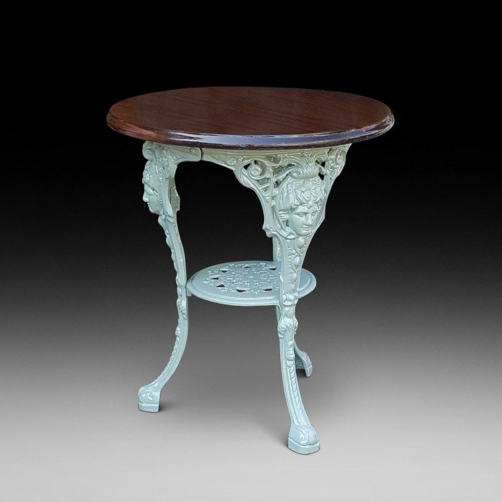 Outdoor Victorian Table: Late Victorian Cast Iron Garden Table