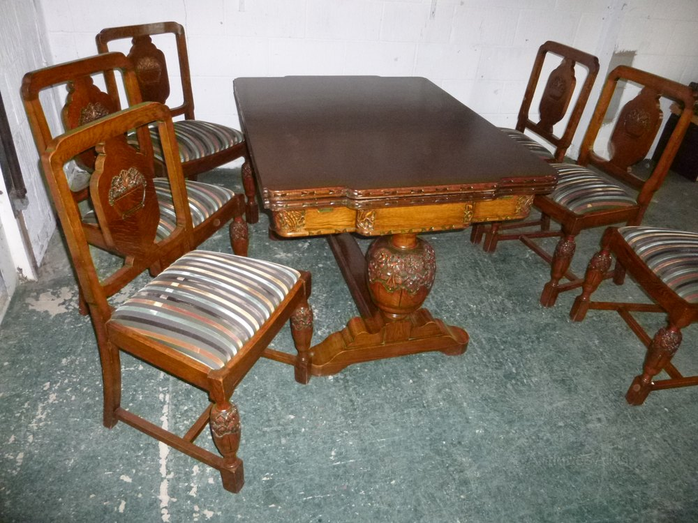 1930s Set 6 Carved Oak Dining Chairs (Chairs Only) ...