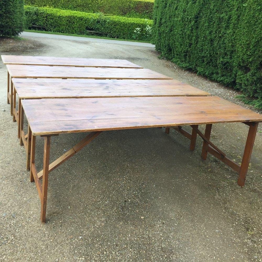 1930s Pine Folding Trestle Table Antique Tables
