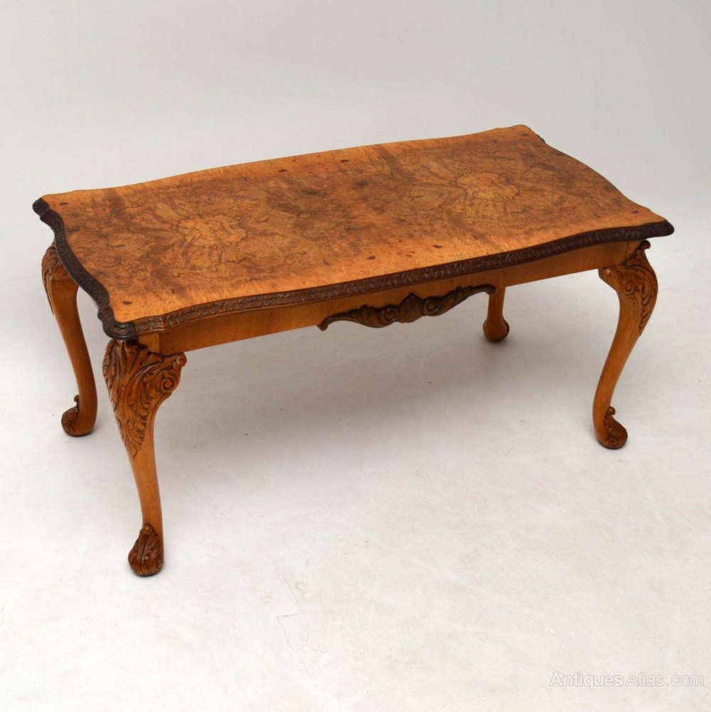 Antique Queen Anne Style Burr Walnut Coffee Table Antiques Atlas