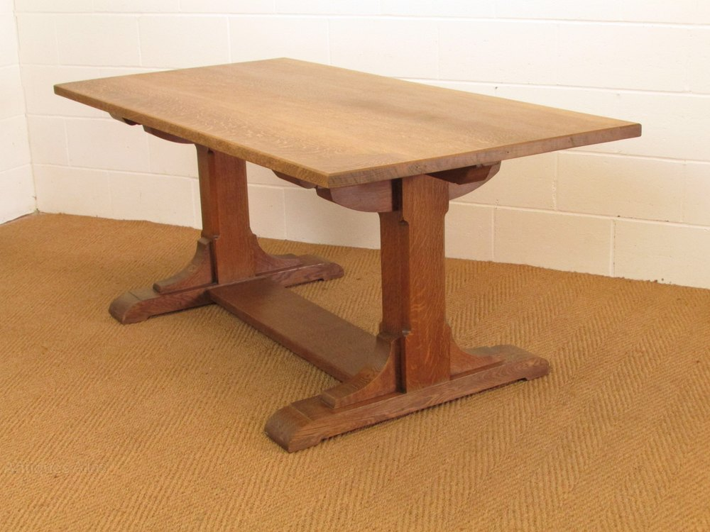 Heal s Arts Crafts Oak Refectory Dining Table Antiques