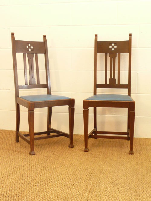 Set Of 8 Arts Crafts Glasgow Oak Dining Chairs Antiques Atlas