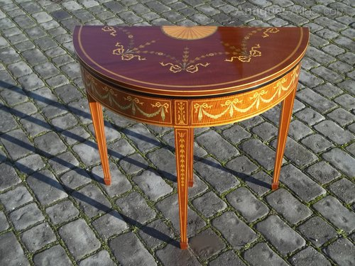 Antique Mahogany Inlaid Demi Lune Card Table