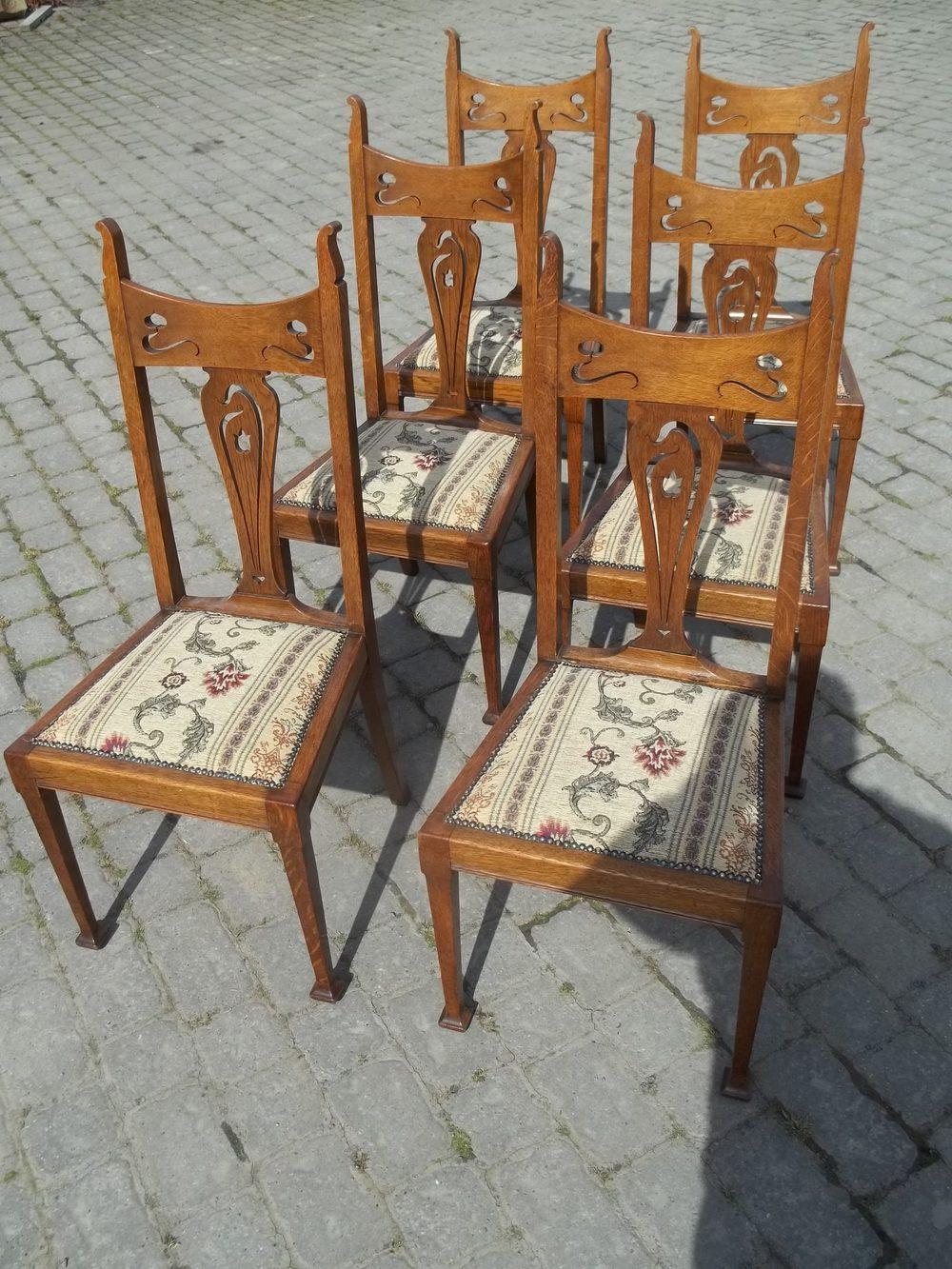 Antique Oak Chairs ~ Antique set six oak dining chairs antiques atlas
