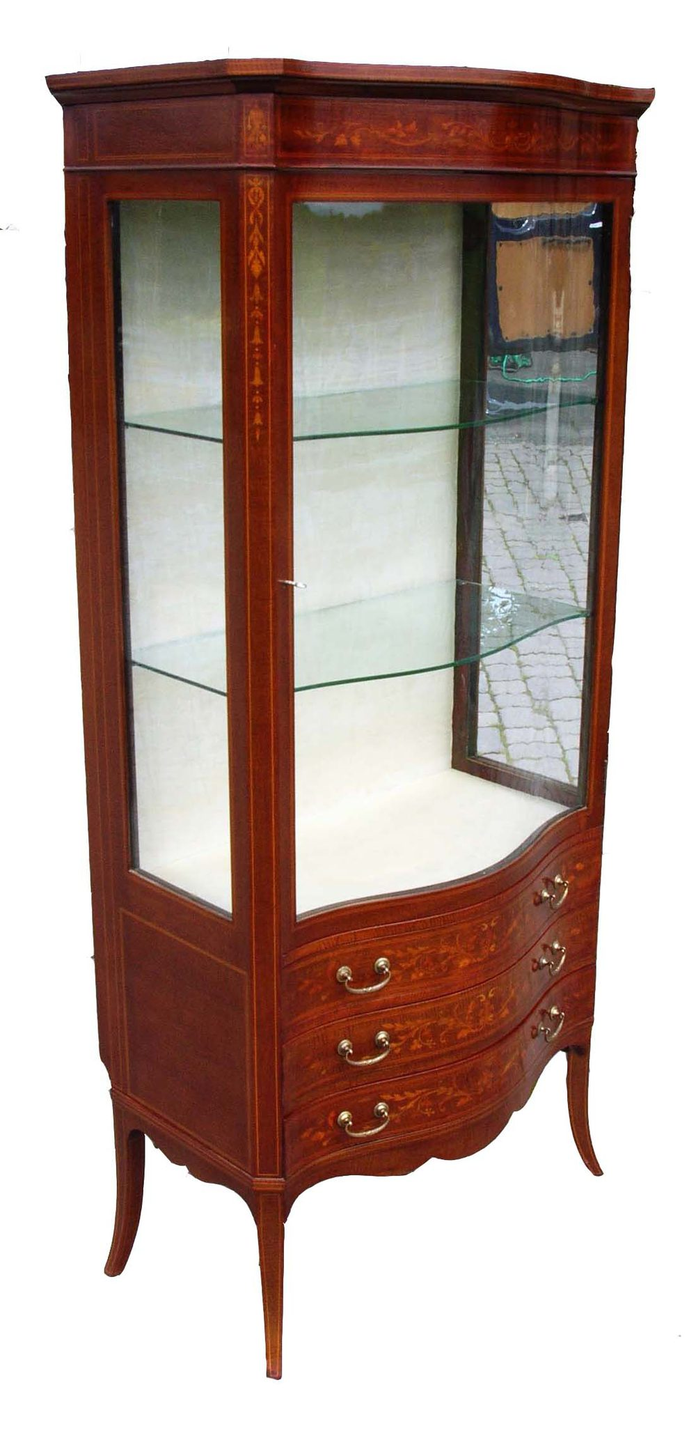 mahogany display cabinet antique mahogany inlaid display cabinet antiques atlas 3954