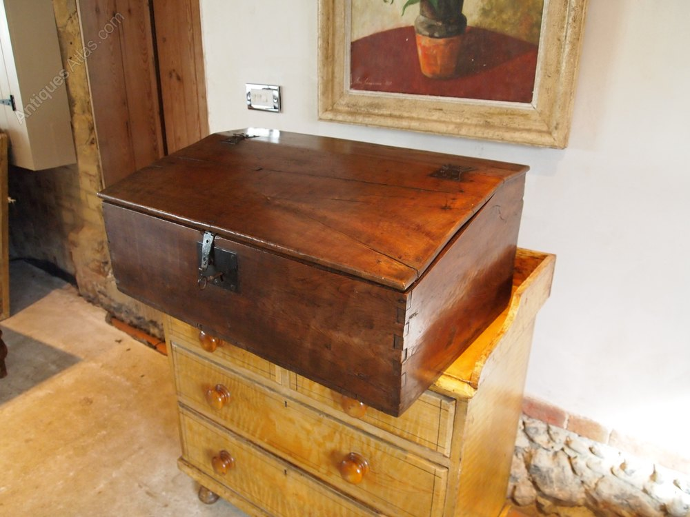 Antiques Atlas Box Bible Box Queen Anne Elm Working Lock