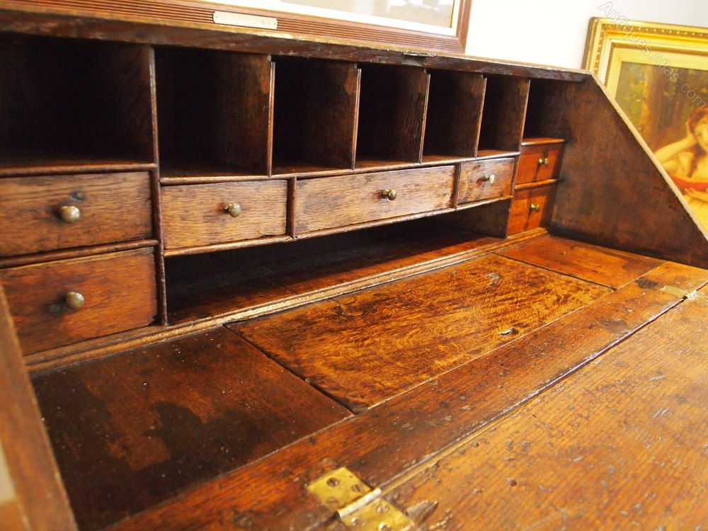 bureau desk george ii oak c1740 antiques atlas. Black Bedroom Furniture Sets. Home Design Ideas