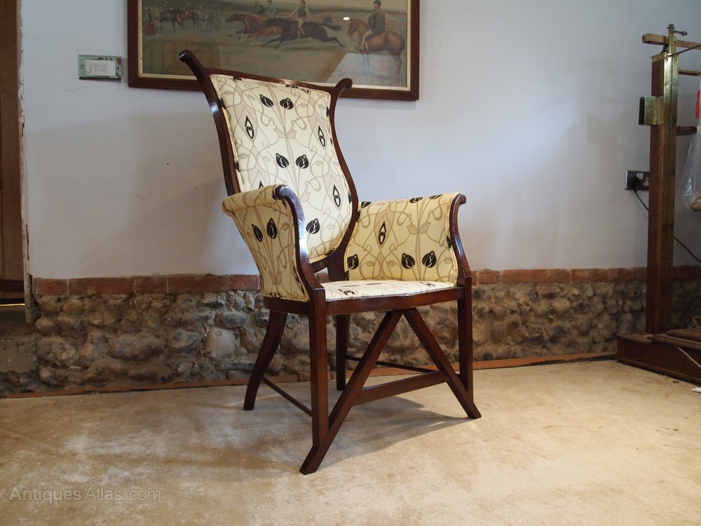 Antique Furniture Edwardian (1901-1910) Chair Stunning Arts And Crafts Mahogany Armchair C1900