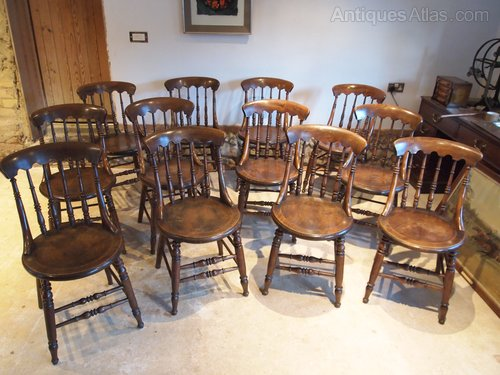 Chairs V Rare Set Of 12 Victorian Windsor Elm Ash
