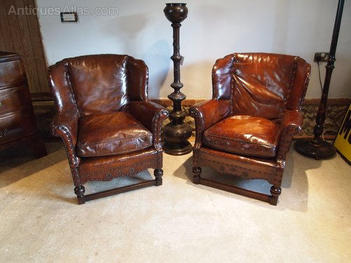 Chairs Pair Fine Leather Edwardian Club Armchairs Antiques Atlas