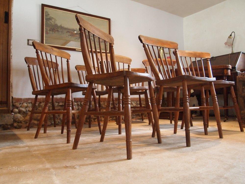 chairs rare set of 9 victorian kitchen windsor antiques atlas. Black Bedroom Furniture Sets. Home Design Ideas