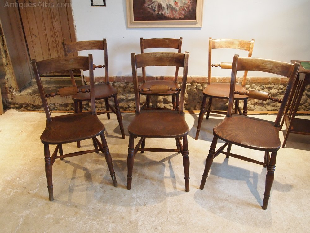 chairs set of 6 victorian windsor kitchen c1870 antiques atlas. Black Bedroom Furniture Sets. Home Design Ideas