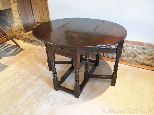 Table Charles Ii Oak Small Cottage Gate Leg Dining Antiques Atlas