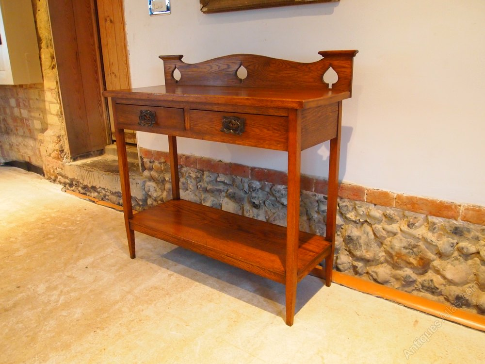 table rare arts and crafts oak hall lamp console antiques atlas. Black Bedroom Furniture Sets. Home Design Ideas