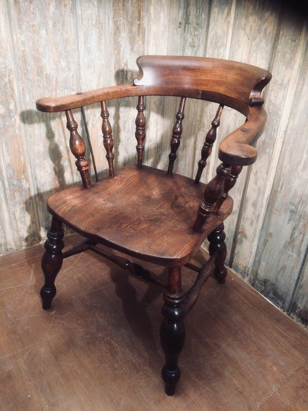 ... Antiques Captains chair Elm - 19th Century Antique Captains Chairs - Antiques Atlas
