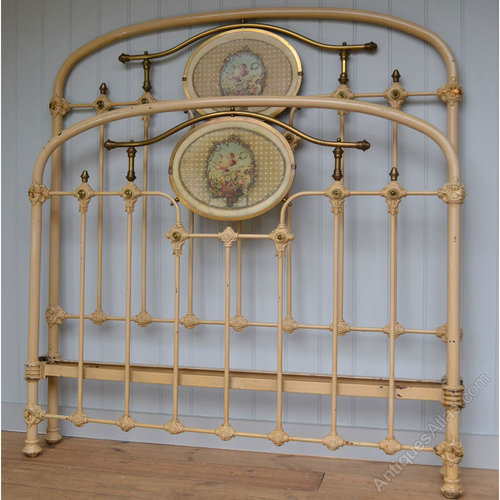 French Brass And Iron Small Double Bedstead Bed Antiques