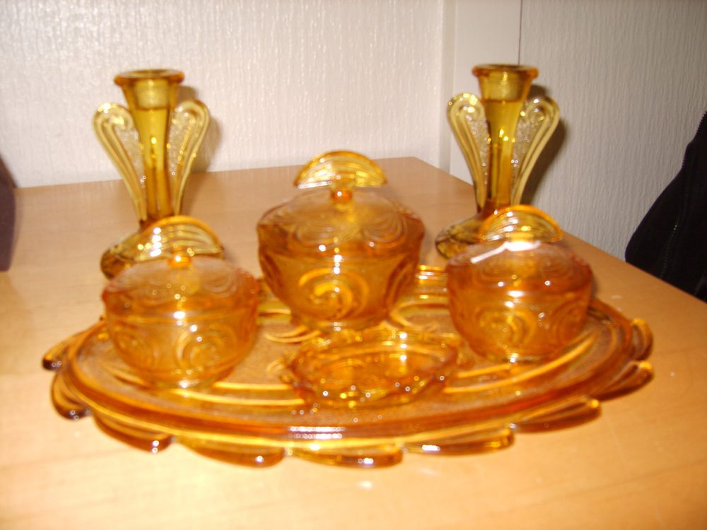 Antiques Atlas Art Deco Amber Glass Dressing Table Set