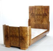 Unique  Art Deco Bed In Walnut By Hill