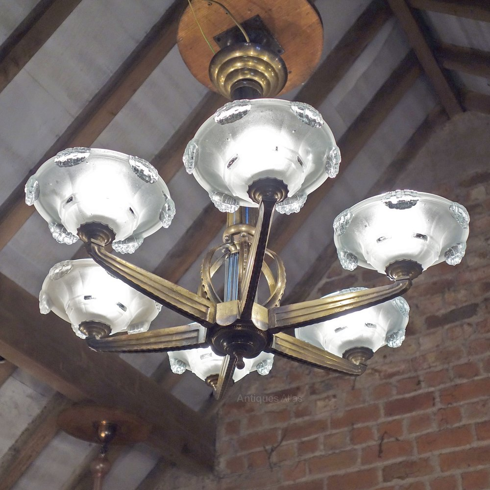 Antiques atlas art deco chandelier bronze petitot french 1930s antique lighting antique basket chandeliers arubaitofo Images