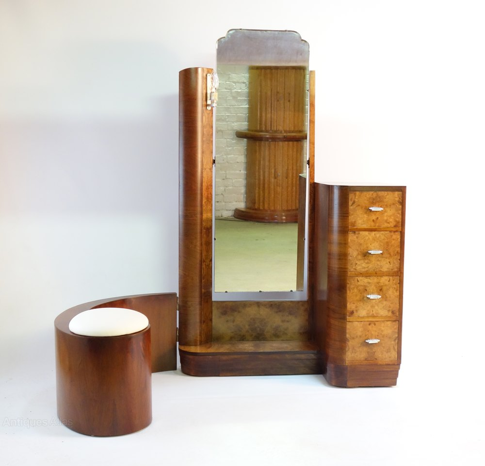 art deco dressing table with swing stool c1930 antiques atlas. Black Bedroom Furniture Sets. Home Design Ideas