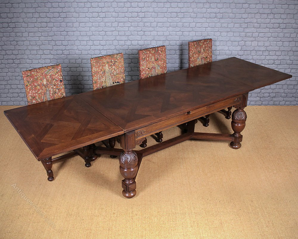 10 seater oak drawer leaf dining table antiques for 10 seater dining table
