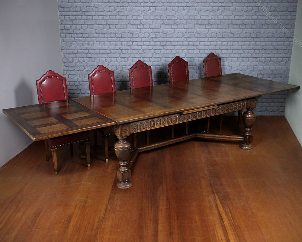 12 Seater Extending Parquetry Top Dining Table C 1930