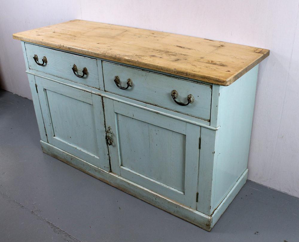 19th.c. Painted Pine Kitchen Cupboard Dresser Base - Antiques Atlas