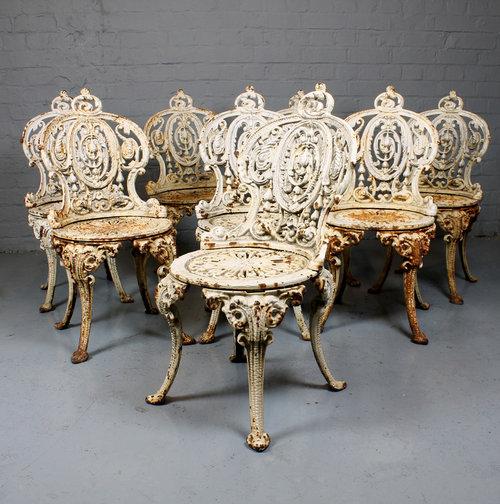 8 Cast Iron Garden Chairs. Antique ... - Antiques Atlas - 8 Cast Iron Garden Chairs.