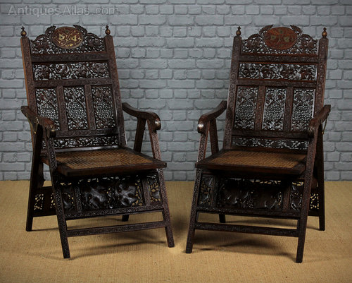 - Anglo-Indian Folding Garden Armchairs C.1900. - Antiques Atlas
