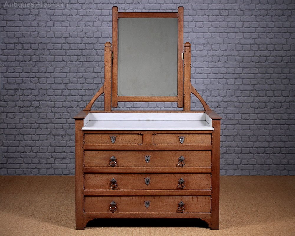 Arts crafts dressing table with drawers for C table with drawer
