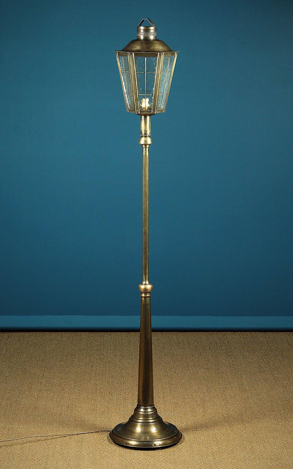 Floor Lamp in Brass & Rippled Glass c.1970