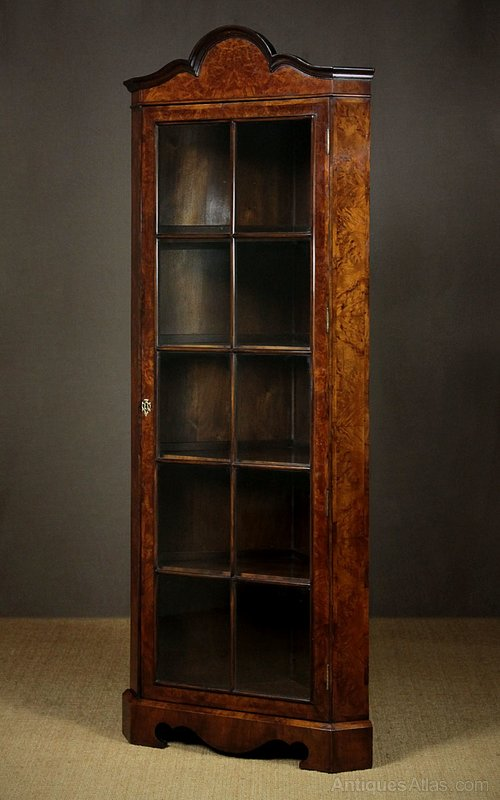 Antique Corner Cabinets ... - Burr Walnut Corner Display Cabinet C.1920. - Antiques Atlas