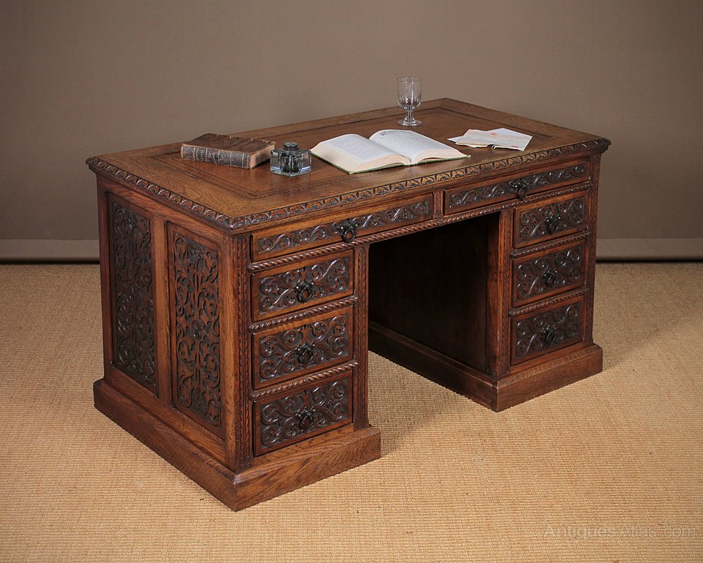 Carved Oak Amp Walnut Kneehole Desk C 1870 Antiques Atlas