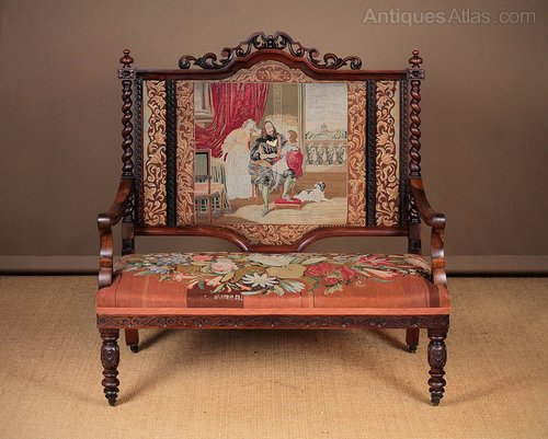 Carved Rosewood Couch with Original Embroidery