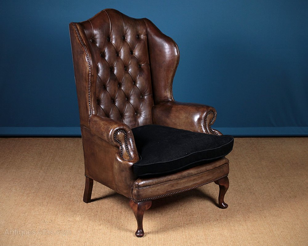 Classic High Back Leather Fireside Armchair C.1930 ...