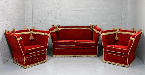 Delicieux Crimson Velvet Knole Sofa U0026 Armchairs Suite.
