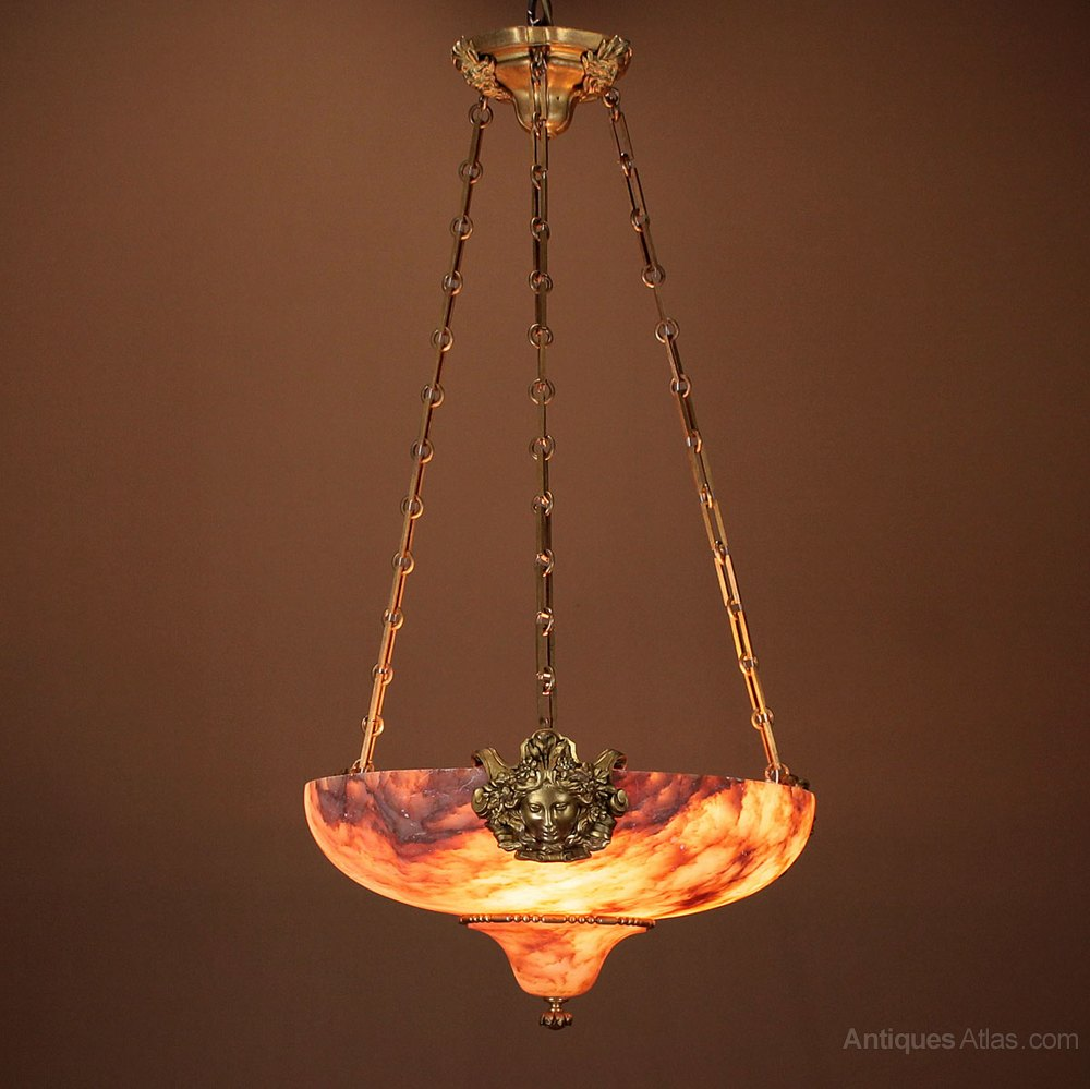 Antiques Atlas Edwardian Era Alabaster Ceiling Light C 1910