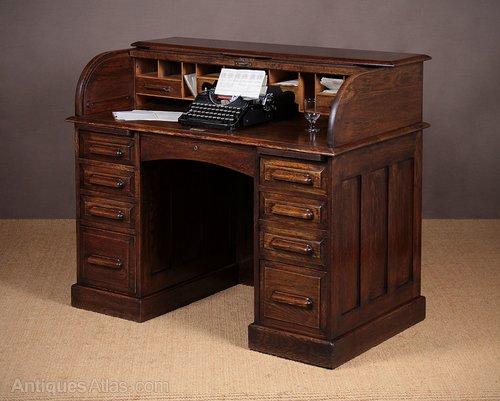 Edwardian Low Back Roll Top Desk C 1910