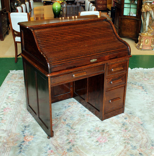 Edwardian Oak Roll Top Desk. Antique ... - Edwardian Oak Roll Top Desk. - Antiques Atlas