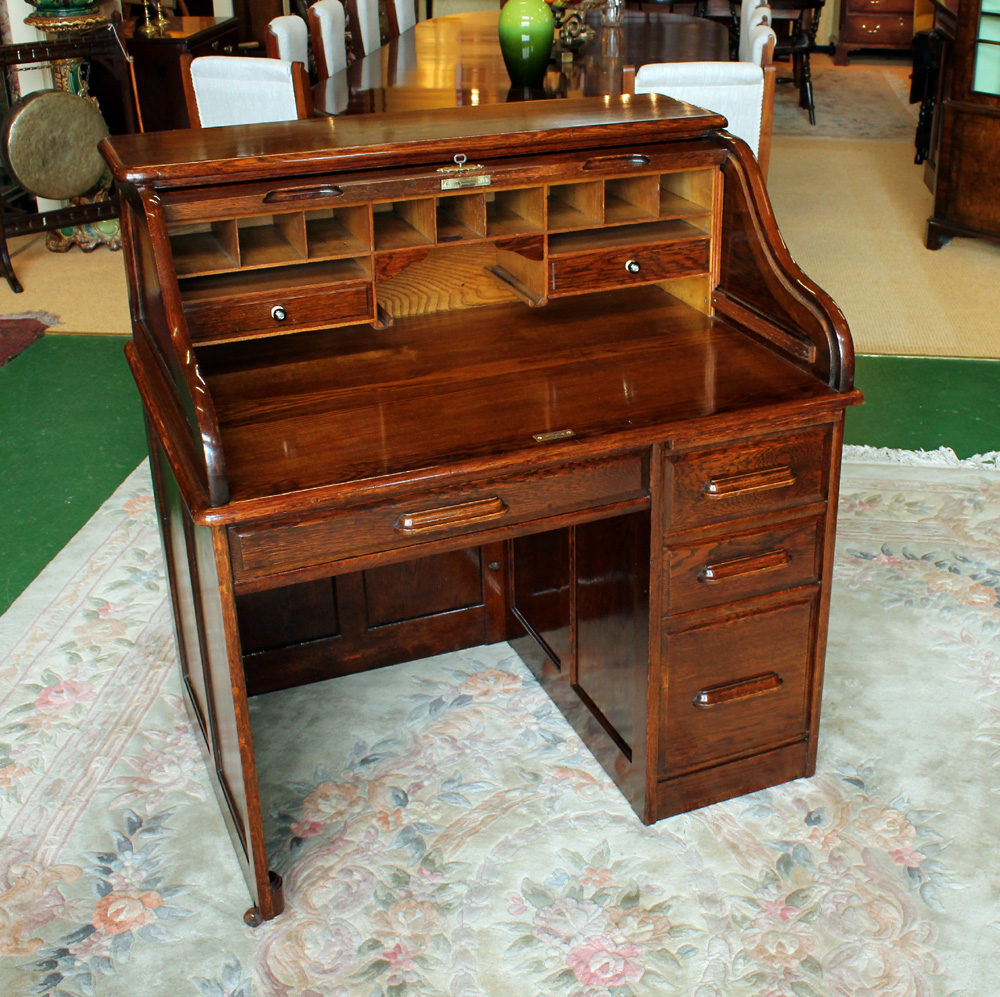 Antique Roll Top Desks Edwardian Oak ... - Edwardian Oak Roll Top Desk. - Antiques Atlas