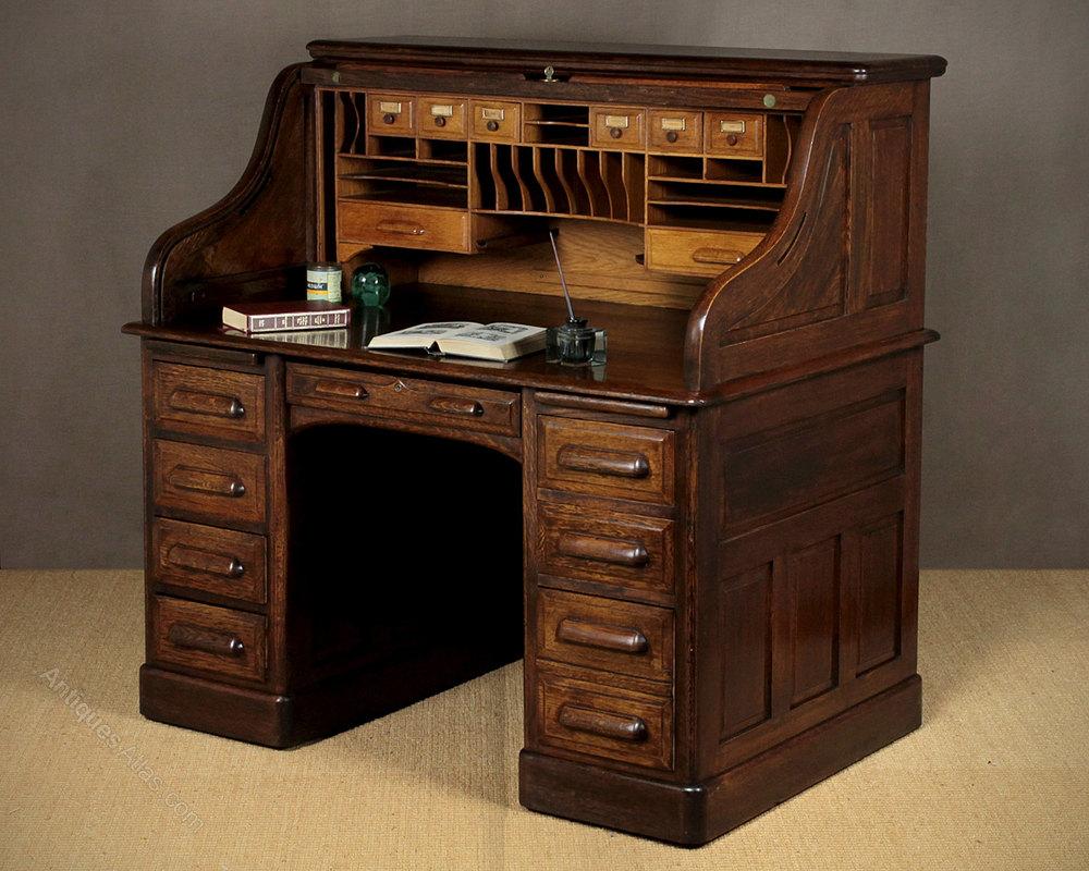 Edwardian Oak Roll Top Desk C 1910 Antique