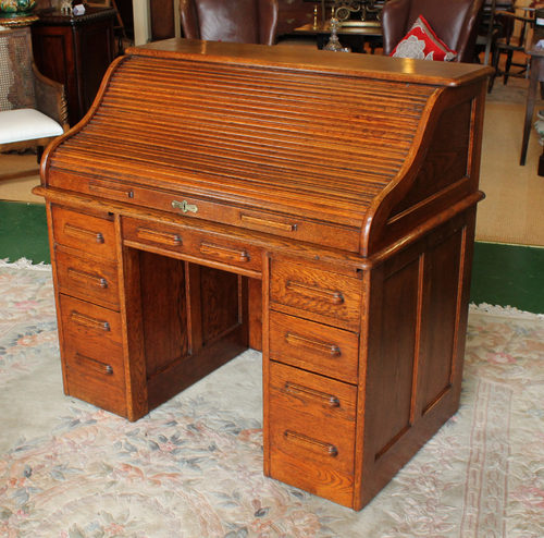 Edwardian Oak Roll Top Desk c.1910 - Edwardian Oak Roll Top Desk C.1910 - Antiques Atlas