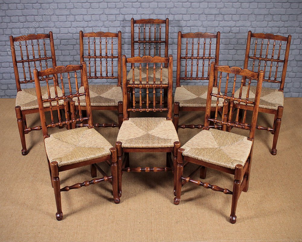 Oak Spindle Dining Chairs ~ Eight large spindle back oak dining chairs antiques atlas