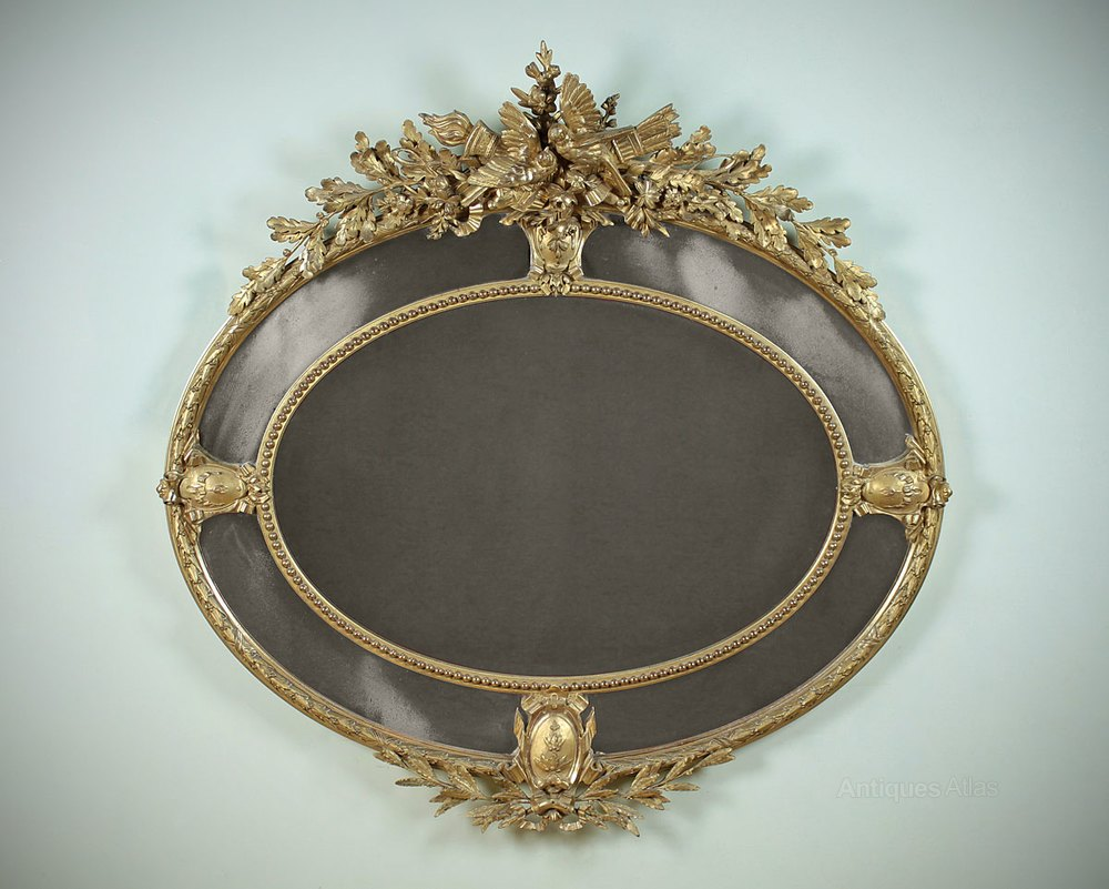 Antiques atlas large gilded overmantle mirror with for Overmantle mirror