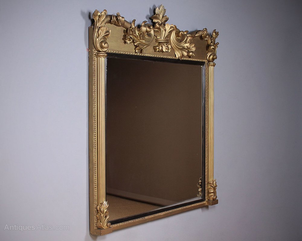 Antiques atlas large gilt overmantle mirror for Overmantle mirror