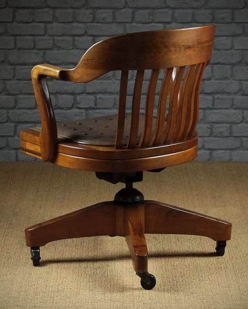 Antiques Atlas Large Walnut Desk Chair By W H Gunlocke