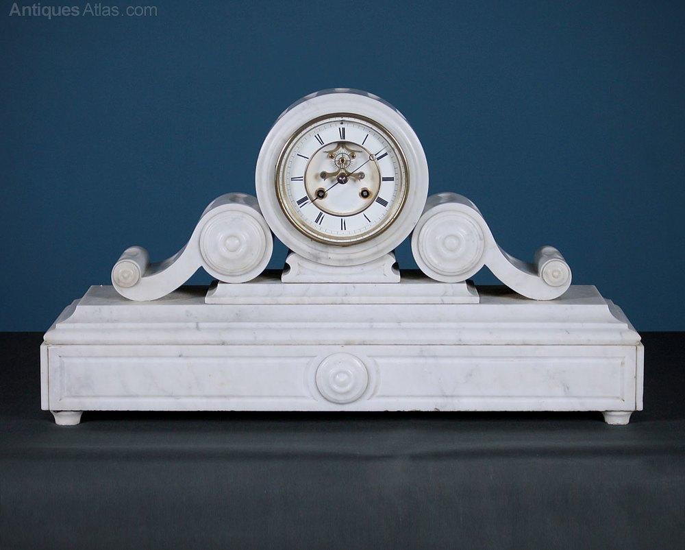 Antiques Atlas - Large White Marble Mantle Clock C.1870.