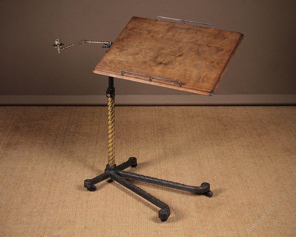 Late 19th C Adjustable Table Or Reading Stand C 1890