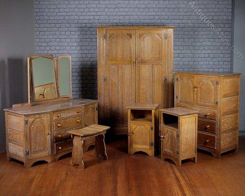 Limed Oak Bedroom Suite C.1930. - Antiques Atlas